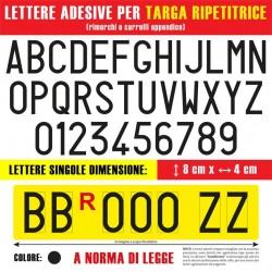 Lettere-Numeri-Caratteri alfanumerici Neri adesivi 80x35 mm.