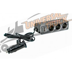 Dual-Power, presa accendisigari tripla con USB, 12V