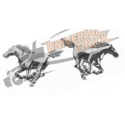 Emblema 3D cromato - 2 Horses