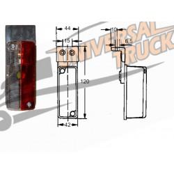 Luce d'ingombro rettangolare 42x92 mm. con gemma bianca/rossa e staffa 90