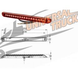 Luce di posizione rossa PRO CAN XL a LED 24V da incasso con cavo costampato da 0,5 m